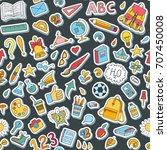 seamless pattern with stickers. ... | Shutterstock .eps vector #707450008