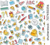 seamless pattern with stickers. ... | Shutterstock .eps vector #707450356