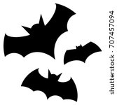 halloween black bat icon set.... | Shutterstock .eps vector #707457094