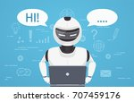 robot uses laptop computer.... | Shutterstock .eps vector #707459176