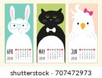 cute 2018 calendar pages with... | Shutterstock .eps vector #707472973