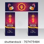 indian festival durga puja... | Shutterstock .eps vector #707475484