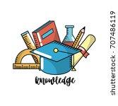school knowledge utensils to... | Shutterstock .eps vector #707486119