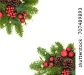 decorative christmas background ... | Shutterstock . vector #707489893