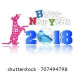 happy new year 2018 brush... | Shutterstock .eps vector #707494798