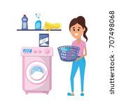 laundry equipment and woman... | Shutterstock .eps vector #707498068