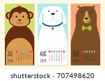 cute 2018 calendar pages with... | Shutterstock . vector #707498620