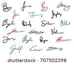 vector signature set   business ... | Shutterstock .eps vector #707502298