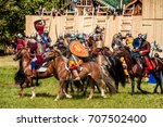 Small photo of Moscow, Russia - June, 2017: History reenactment in Kolomenskoe in Moscow, Russia. Mongol rule invasion, Battle of the Kalka River reconstruction.
