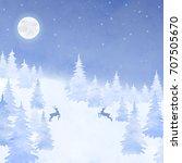 winter watercolor christmas... | Shutterstock .eps vector #707505670