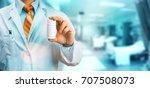 doctor in white coat on... | Shutterstock . vector #707508073