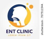 ent logo template. head for ear ... | Shutterstock .eps vector #707511544