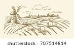 countryside landscape with hay... | Shutterstock .eps vector #707514814