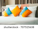 pillow on bed decoration... | Shutterstock . vector #707525638