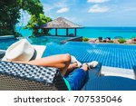 man traveler relaxing near... | Shutterstock . vector #707535046