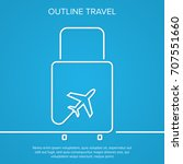 icon airplane and suitcase. the ... | Shutterstock .eps vector #707551660