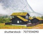 traditional norwegian wooden... | Shutterstock . vector #707554090
