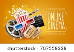 online cinema art movie... | Shutterstock .eps vector #707558338