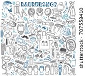 barbershop doodles set.... | Shutterstock .eps vector #707558410
