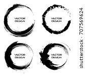 black circle brush strokes | Shutterstock .eps vector #707569624