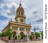 "Small photo of the Portuguese legacy in Bangkok roman catholicism Chruch Name ""Santa Cruz Church"" Located on On the banks of the Chao Phraya, Thonburi, Bangkok, Thailand"
