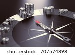 compass over black background... | Shutterstock . vector #707574898