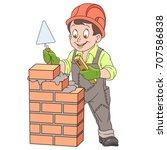 cartoon builder with trowel and ... | Shutterstock .eps vector #707586838