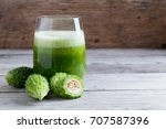 herbal juice of  bitter gourd   ... | Shutterstock . vector #707587396