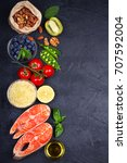 salmon fish  vegetables  fruits ... | Shutterstock . vector #707592004