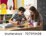 school day. teenage boy and... | Shutterstock . vector #707593438
