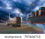 ship with container vessel... | Shutterstock . vector #707606713