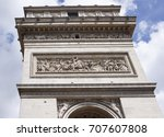 Small photo of Paris; France- May 01; 2017:The triumphal arch. On the walls there are battles. Battle of Jemapp