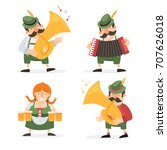 oktoberfest. funny cartoon... | Shutterstock .eps vector #707626018