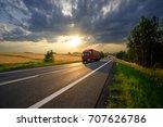 red trucks arriving on the... | Shutterstock . vector #707626786