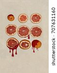 blood orange cut in pieces and... | Shutterstock . vector #707631160