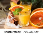 orange spicy vodka with thyme...   Shutterstock . vector #707638729