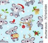 vector cartoon koala christmas... | Shutterstock .eps vector #707643484