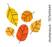 hand drawn vector autumn leaves ... | Shutterstock .eps vector #707645644
