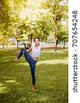 asian woman practicing yoga in... | Shutterstock . vector #707654248