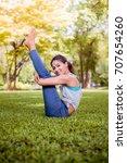 asian woman practicing yoga in... | Shutterstock . vector #707654260