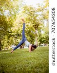 asian woman practicing yoga in... | Shutterstock . vector #707654308