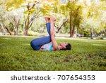 asian woman practicing yoga in... | Shutterstock . vector #707654353