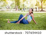 asian woman practicing yoga in... | Shutterstock . vector #707654410