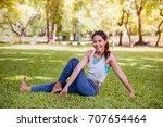 asian woman practicing yoga in... | Shutterstock . vector #707654464