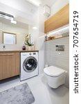 modern bathroom interior design ... | Shutterstock . vector #707654719