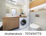 modern bathroom interior design ... | Shutterstock . vector #707654773
