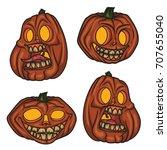 halloween pumpkins mascot set.... | Shutterstock .eps vector #707655040