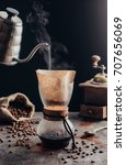 making fresh coffee by woodneck ... | Shutterstock . vector #707656069