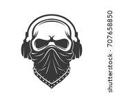 skull in headphones and bandana.... | Shutterstock .eps vector #707658850