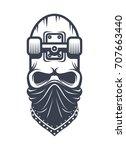 skateboard skull in bandana... | Shutterstock .eps vector #707663440